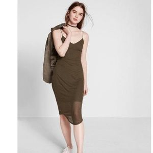 Express ribbed midi dress in olive green
